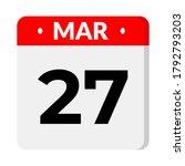 27 march calendar icon  vector... | Shutterstock .eps vector #1792793203