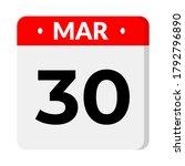30 march calendar icon  vector... | Shutterstock .eps vector #1792796890