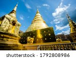 golden pagoda in Wat Phrasingh  , Chiangmai  province in northern Thailand,  are public domain or treasure of Buddhism ,no restrict in copy or use . This photo taken these conditions
