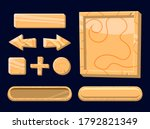 set of game ui wooden board...