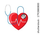 heartbeat with a stethoscope... | Shutterstock .eps vector #1792880800