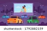 car cinema or drive movie...   Shutterstock .eps vector #1792882159