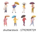 Characters With Umbrellas Set....