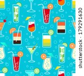 Seamless pattern background with alcohol cocktail drinks of martini margarita tequila vodka vector illustration - stock vector
