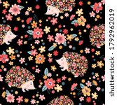 vector seamless childish floral ... | Shutterstock .eps vector #1792962019