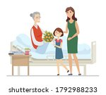 family visiting grandmother at...   Shutterstock .eps vector #1792988233