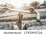 Handle Of A Old Bicycle Against ...