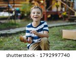 Portrait Of Cute Caucasian Boy...