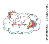 unicorn sleeping on cloud on... | Shutterstock .eps vector #1793002453