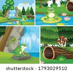 frogs in nature background set...   Shutterstock .eps vector #1793029510