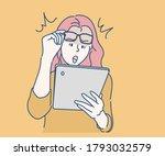 woman feeling surprise when... | Shutterstock .eps vector #1793032579