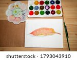 watercolor painted leaf in an... | Shutterstock . vector #1793043910