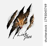 Live Free Slogan With Leopard...