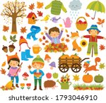 Autumn Clipart Set With Kids ...
