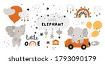 little elephant is flying with... | Shutterstock .eps vector #1793090179