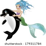 cartoon little mermaid and dolphin  - stock vector
