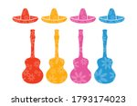 Sombrero Hat And Guitar Icons...