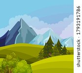 green landscape with mountain... | Shutterstock .eps vector #1793191786