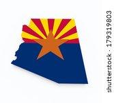 arizona state flag on 3d map