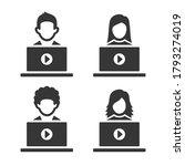 video blogger icons set on... | Shutterstock . vector #1793274019