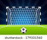 soccer ball and gate with dark... | Shutterstock .eps vector #179331560