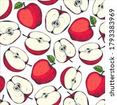 seamless pattern with apple.... | Shutterstock .eps vector #1793383969
