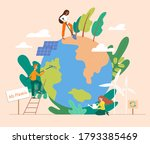 saving the planet concept with... | Shutterstock .eps vector #1793385469