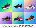 vector fitness sneakers shoes... | Shutterstock .eps vector #1793387743