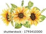 Sunflowers Bouquet Watercolor...