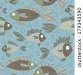 funny fish seamless vector... | Shutterstock .eps vector #179343590