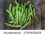 Green Runner Beans On Wooden...
