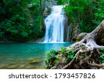 A Large Beautiful Waterfall In...