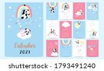 doodle pastel calendar set 2021 ...   Shutterstock .eps vector #1793491240