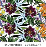 seamless pattern of tropical flowers