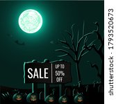 halloween sale poster on creepy ... | Shutterstock .eps vector #1793520673