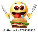 emoji eating hamburger... | Shutterstock .eps vector #1793539309