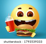 emoji happy eating fast food... | Shutterstock .eps vector #1793539333