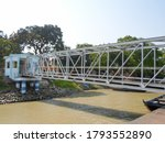 Small photo of View of Budge Budge Ferry Ghat bridge Ferry Service from kolkata city to howrah in by WBTC - West Bengal Transport Corporation on Ganga or Ganges river. kolkata, india, South Asia Pac December 2020