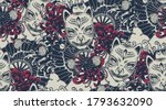 seamless pattern with a kitsune ... | Shutterstock .eps vector #1793632090