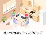 working at home  freelancer... | Shutterstock .eps vector #1793651806