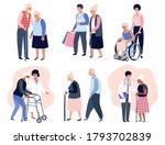 elderly people walking  social... | Shutterstock .eps vector #1793702839