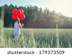 little girl with a bunch of red ... | Shutterstock . vector #179373509
