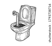 periscope in the toilet sketch... | Shutterstock .eps vector #1793738716