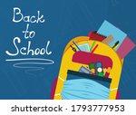 colorful school bag with school ... | Shutterstock .eps vector #1793777953