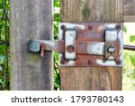 Old Rusty Metal Gate Latch On A ...