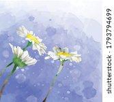 Flower Watercolor Flat Vector...