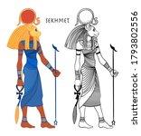 sekhmet  the goddess of the sun ... | Shutterstock .eps vector #1793802556