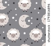 seamless pattern with moon and... | Shutterstock .eps vector #1793816896