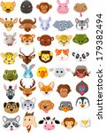 cartoon animal head collection... | Shutterstock .eps vector #179382494