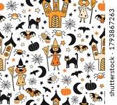 halloween characters wearing... | Shutterstock .eps vector #1793867263